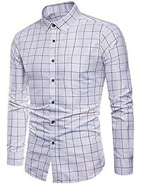 3b79a38dc588 ITISME Herrenhem Herren Langarm Oxford Formale beiläufige Plaid Slim Fit T- Shirt Hemden Bluse TopLangarm