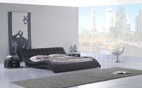 i-flair Polsterbett, Kunstlederbett R0B 160x200 cm Schwarz aus hochwertigem Kunstleder
