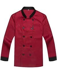 WAIWAIZUI Camisa de Cocinero Cocina Uniforme Manga Larga