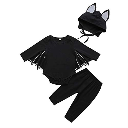 Kleinkind Piraten Kostüm Lady - Lazzboy Kleinkind Neugeborenes Baby Jungen Mädchen Halloween Cosplay Kostüm Strampler Hut Outfits Set Junge Fledermaus Kleidung Sets| Toddler Infant Girl Boy Bat(Schwarz,Höhe:90)