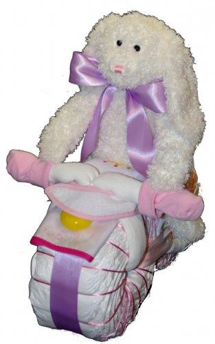 Preisvergleich Produktbild Windelmotorrad Mädchen rosa mit Kuscheltier / Windeltorte Motorrad - Perfektes Geschenk zum Baby