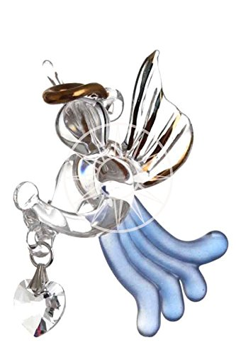 Fatto a mano Vetro da Appendere Loving Angelo Custode con cristalli Swarovski a forma di cuore, Sapphire