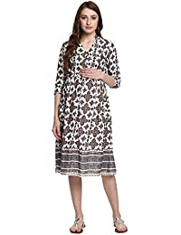 Mine4nine Women's Floral Bordered Maternity Fit and FlareDress
