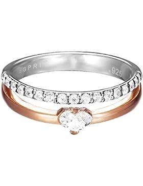 Esprit Damen Ring Silber Bicolor Zirkonia Double Délicat Heart ESRG92496A1