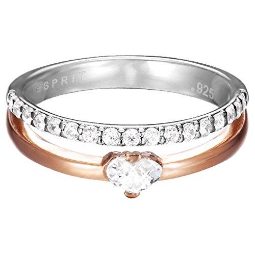 Esprit Damen-Ring 925 Sterling Silber Zirkonia double délicat heart rose weiß ESRG92496A180
