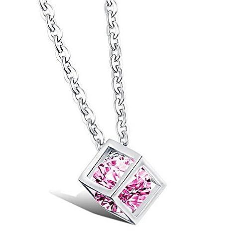 Pandora Cube Box Stil Silber mit einem rosa Kristall Anhänger Halskette Diamant-Schmuck vintage hot Modetrend Damenschmuck