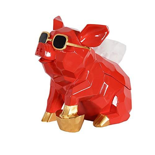Moderne Gewebe-Box Europäische Tissue Box Kreative Schwein-förmigen Luxus Wohnzimmer Papierhandtuch Magnetablage Tier Einfache Bad Rollenhalter Home Decoration ( Color : Red , Größe : 25.6*18*25.5cm ) -