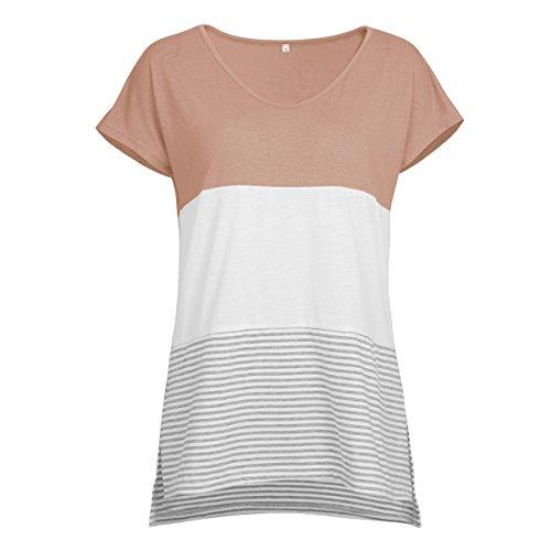 Einfarbiges T-Shirt mit Rundhalsausschnitt für Damen mit V-AusschnittNahtendes kurzärmeliges gestreiftes T-Shirt weiblich braun XXL