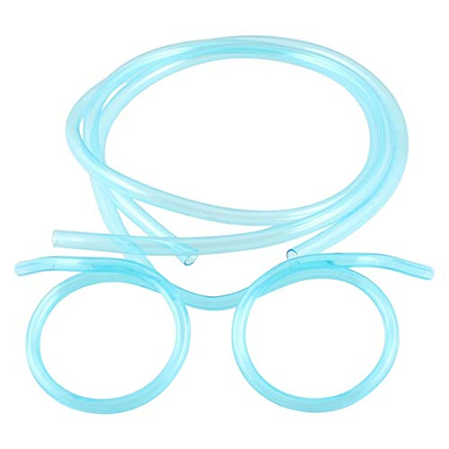 SODIAL(R) Klar Blau Kunststoff DIY Strohhalm Brillen Brille fuer Kinder