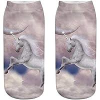 OHlive Suave Calcetines del Tobillo de Las Mujeres de Unicorn 3D Impresas Zapatillas de Deporte Liners (1 par-DJS05-One Size) (Color : DJS05, tamaño : Talla única)