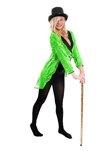 GRÜNER Frack/Tailcoat= Pailletten Jacke= Das PERFEKTE KOSTÜM FÜR Jede TANZAUFFÜHRUNG - STEPTANZ -Fasching UND Karneval = DER SUPER KLASSE =Sequin= IN 6 VERSCHIEDENEN GRÖSSEN=XSmall (Jacke Kostüm Grüne)