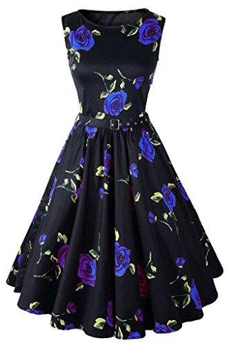 Eyekepper Robe femme demoisellede floral style des annees 1950 robe vintage Bleu
