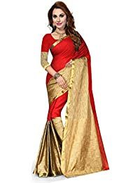 Ishin Poly Cotton Saree (Swary-Jio_Red_Red & Golden)