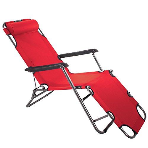 Smartfox Sonnenliege Gartenliege Strandliege 3 Sitz-/Liegepositionen ca. 180 cm Rot Rote Eisen-auf Stoff