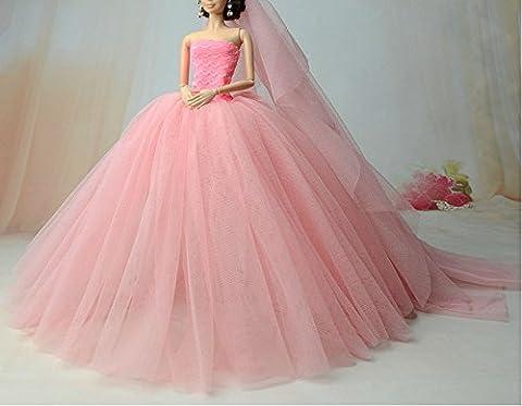 BU-02 Schöne und modische handgefertigte elegante schöne Hochzeit Abend-Partei-Kleid für Barbie Puppe(Puppen nicht im Lieferumfang enthalten) (rosa 1)