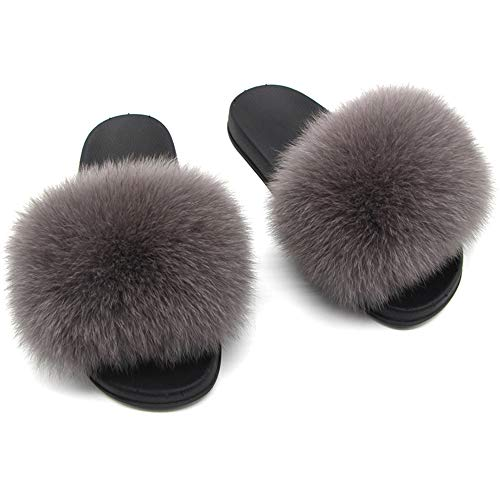 Twgdh sandali infradito in pelliccia sintetica flip flop da donna per interni slip on mega fluffy sandali con ciabatte,darkgray,39