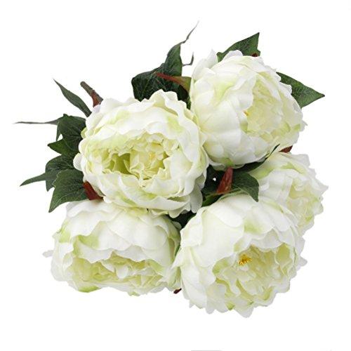 PIXNOR 5-Kopf Schön Künstlich Blumen Pfingstrosen Blumenstrauß Für Hochzeit Party Dekor (weiß)