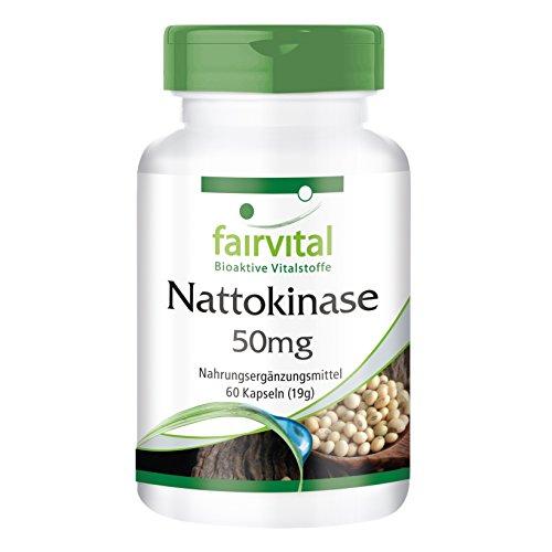 Nattokinase 50mg - für 1 Monat - VEGAN - HOCHDOSIERT - 60 Kapseln - 2 Kapseln Tagesdosierung - 2000 FU