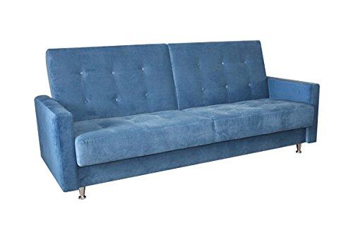 3er Sofa Aurea in blau mit Staukasten und Bettfunktion - Abmessungen: 215 x 88 cm (B x T)