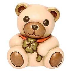 Idea Regalo - THUN® - Teddy Raul Piccolo con Quadrifoglio - Animali da Soprammobile da Collezione - Ceramica - I Classici