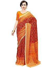 Clotham Women's Cotton Kalamkari Saree With Blouse Piece (Red)