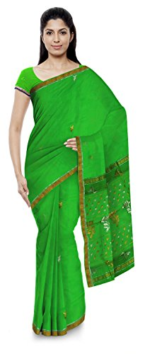 Jenab Kota Sarees Women's Kota Doria Handloom Cotton Silk Saree With Blouse Piece (Green)