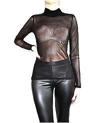 Muse Mujer túnica/forma Camiseta transparente Top tul langarme