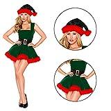 Set costume da elfo femminile, cappello e vestito, costumi da Babbo Natale da elfo, costume da festa cosplay