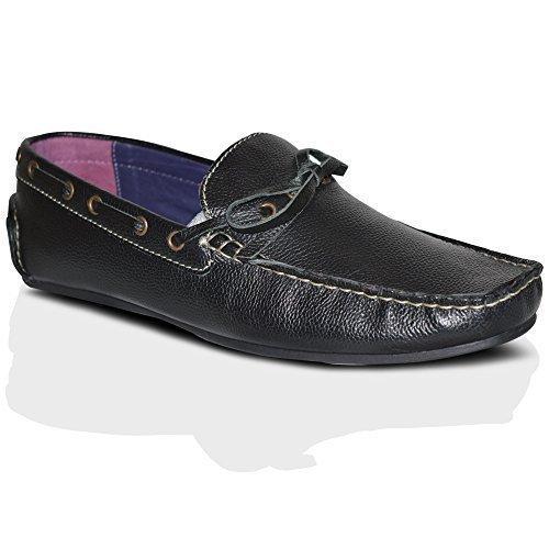 Chaussure de Conduite Hommes Neuve À Enfiler 100% Cuir Mode Mocassins Chaussures Décontractées Pointure RU Noires À Enfiler