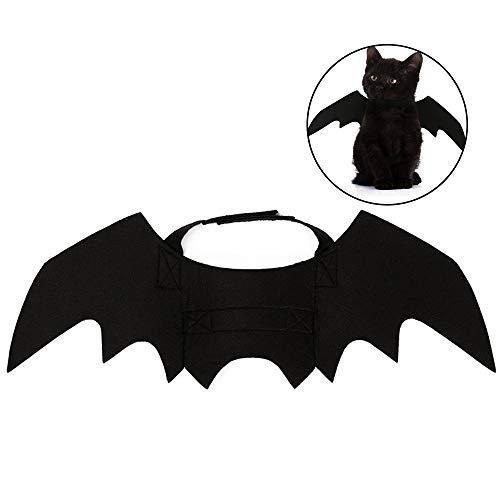 Fledermaus Für Flügel Katzen Kostüm - Gogogo Katze Fledermaus Kostüm Halloween Schwarz Outfit Haustier Vampir Flügel