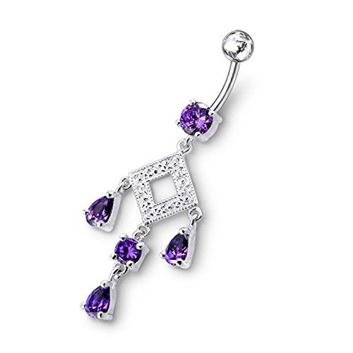 Bijou de corps anneau de nombril pierres pendants Argent Sterling avec 14G-3/8 Inch (1.6x10MM) Banana Acier chirurgical 316L Purple