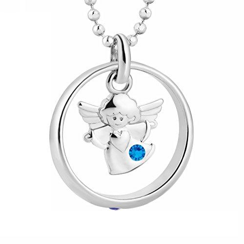 fish Jungen, Mädchen-Silberkette 925 Sterlingsilber Taufring Engel mit Swarovski Elements blau 38 cm, Patentante, Patenonkel, Geschenk-Set