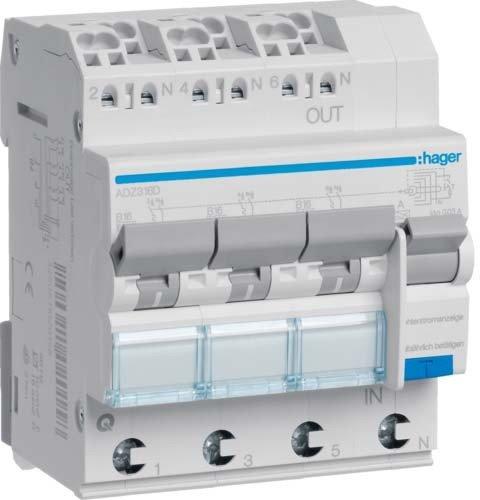 Preisvergleich Produktbild Hager FI/LS Schalter 3x 1p + N 6KA adz316d