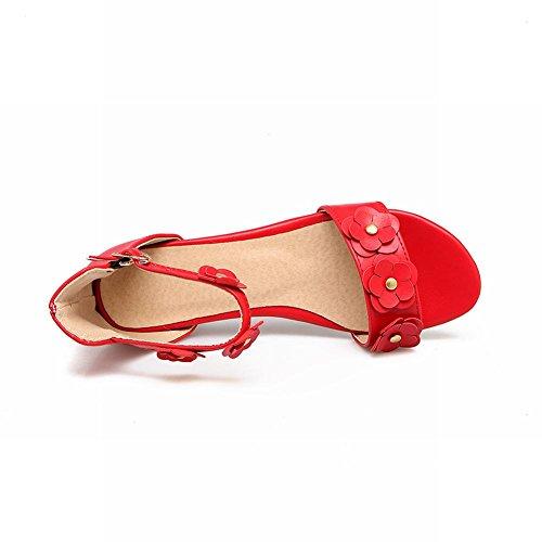 Mee Shoes Damen süß flach ankle strap Schnalle Sandalen Rot