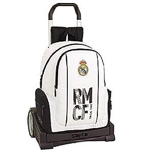 41v07CS69wL. SS300  - Real Madrid CF Mochila con Carro Ruedas Evolution, Trolley Equipaje para niños, Blanco, 43 cm
