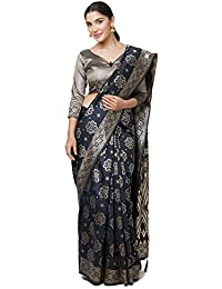 SareeShop Sarees Women's Black Color Cotton Silk Jacquard Saree With Blouse # 591F9ABB2AFD8B07