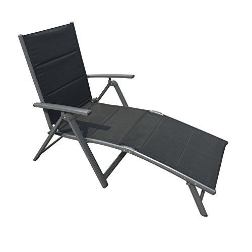 Klappliege Lissabon aus Aluminium mit pflegeleichtem, gepolsterten Textilenebezug, hoher Sitzkomfort durch ergonomische Form, 5- fach verstellbare Rückenlehne, leicht zu transportieren durch kleines Faltmaß, belastbar bis ca. 110 kg, ca. 188 x 65 x 51 cm
