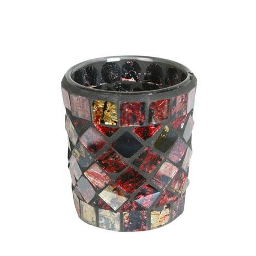 Village Candle Red and Gold Mosaic Votive Holder