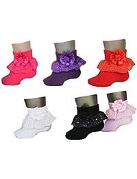 Cheesy Cheeks Mustang Rosette Baby Girls Frill Socks Pack Of 6 (12-24 Months)