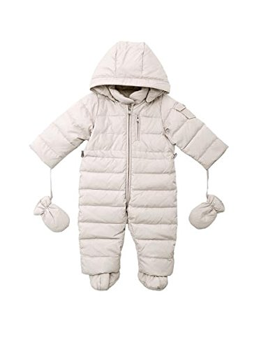 Oceankids Tuta monopezzo / tuta da neve / da passeggino con cappuccio, beige da bambino e bambina 3-6 Mesi