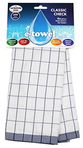 E-Cloth 8930111 Torchon à Vaisselle à Carreaux Polyamide Blanc/Bleu 60 x 40 x 0,2 cm