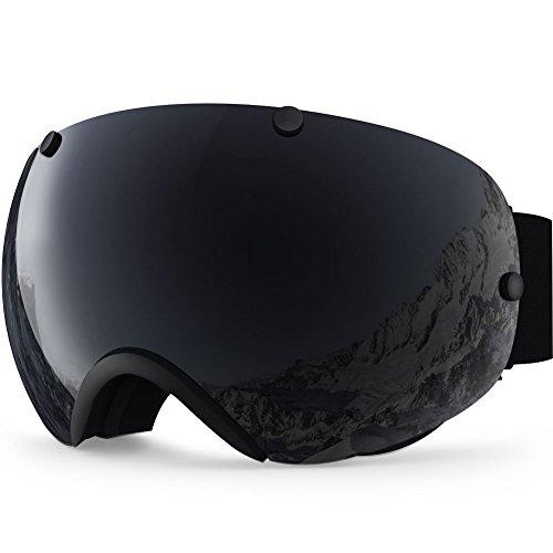 Zionor lagopus xa professionale snowmobile snowboard skate occhiali da sci e super wide angle lente anti nebbia big sferica unisex adulto multicolor maschere da sci (tutto nero)