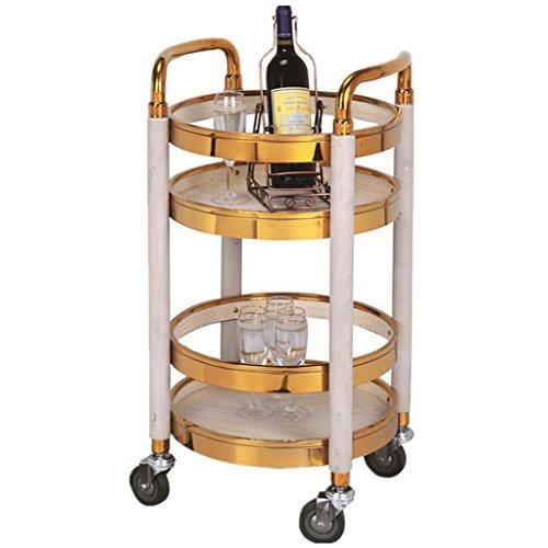 Ali@ Vorgerückter fester Holz-Überzug-Doppelschicht-Hotel-Tee-Wagen, Schönheits-Laufkatze, Geschäfts-Laufkatze, laden 50 Kilogramm (Farbe : Gold+white)