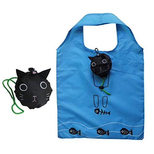 RETON Cute Cat Reusable Shopping Bag Tote Bag Folding In Pouch Washable Sturdy Polyester Grocery Bag Shopping Eco Bags by SamGreatWorld