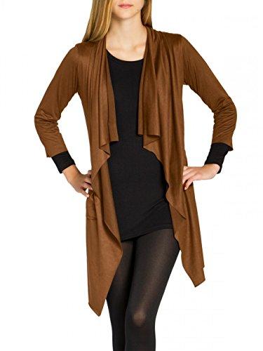 CASPAR STJ015 Damen Faux Wildleder Cardigan, Farbe:marone;Größe:S/M