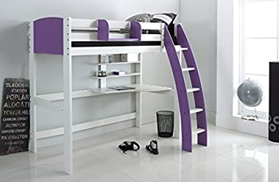 Scallywag Kids High Sleeper Bed - White/Lilac - Curved Ladder - Integral Desk & Shelves. Made In The UK.