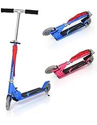 Patinete plegable con dos ruedas, Fascol Patinete Monopatín Scooter para ciudad niños 3 - 13 años, Azul