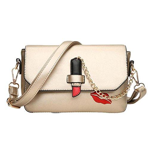 Handtaschen Umhängetasche Kuriertasche Rote Lippen Gedruckte Paket Kleine Quadratische Paket Einfache Wilde Freizeit Mode Gold