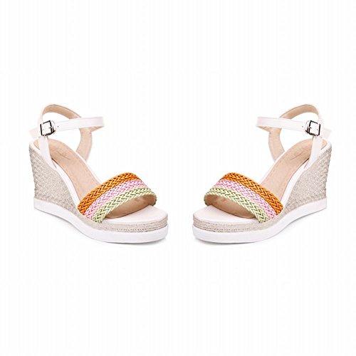 Mee Shoes Damen Keilabsatz Schnalle Slingback Sandalen Weiß