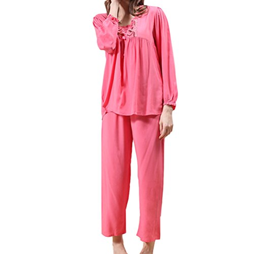 Zhhlinyuan Fashion Womens Long Sleeves Pyjama Set Two pieces Casual Sleepwear Watermelon Red